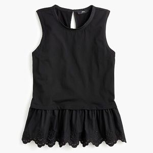J. Crew Peplum black tulip-back tank top
